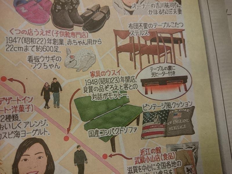 臼井隆浩社長と家具のウスイ、新聞掲載3